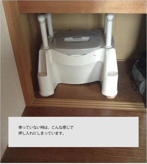 ポータブルトイレを、押入れにしまっている状態